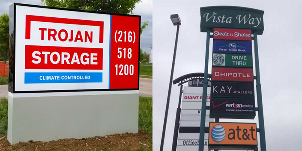 What's the Difference Between Monument Signs and Pylon Signs?