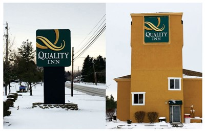 Pylon and cabinet signs for Quality Inn by blinksigns