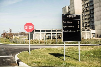 Amazon Directional Wayfinding Sign by Blinksigns