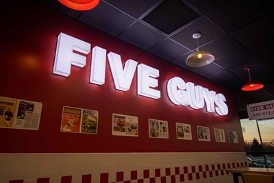 Five Guys interior Channel Letters - Restaurant Signs